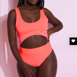 Other - Neon coral swimsuit w/matching asymmetrical skirt